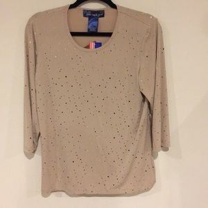 Susan Graver Style Tan with Gold Dot Shirt Sz S